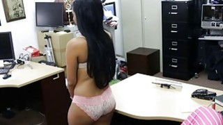 latin babe pawns her old mink coat and banged by pawn keeper image