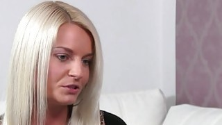 Blonde licks female agent in an office image