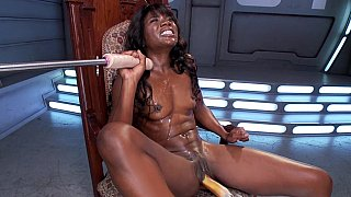 Athletic black woman_with big_clit machine sex image