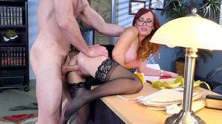 Redheaded secretary Dani Jensen gets banged by her boss image