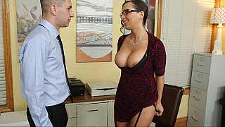 Naughty employee seduces boss with her huge tits image