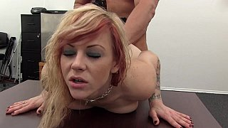Flexible MILF backroom casting hardcore sex image