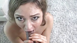 Tall model takes her first black cock at casting image