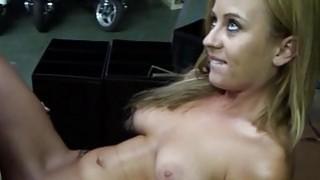 Teen bitch deepthroats and rides a huge rod image