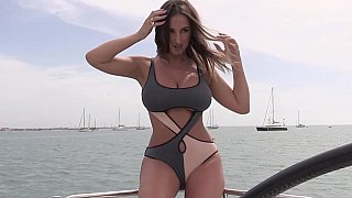 Private beautiful little tits babe Porns, Natural titted babe posing on a yacht image