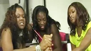 Three Ebony Babes Team Tug and Tease A Big White C image