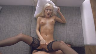 Image: Blonde bombshell Candee Licious shows off her sex skills with a booty bouncing stiffie ride and a...