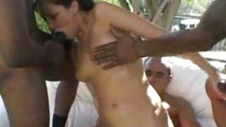 White Girl Fucks Gang of Black Men interracial image