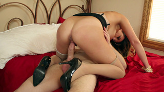 Hot chick Danica Dillon in black high heels rides big shaft image