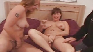 Wild threesome action with hot bi chicks Heather and Kelly image