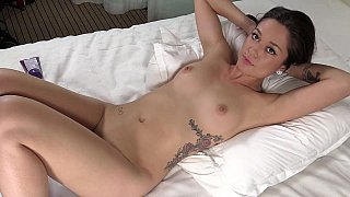 Fingering her juicy shaved_pussy image