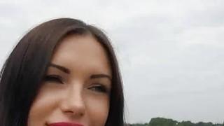 Hot brunette amateur blows in park image