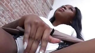Big tits ebony Nadia Jay sucks big dick from glory hole image