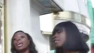 Ebony sluts sharing white dick on video image