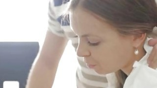 Image: Jen creampie brunette full length Carre seduced by classmate