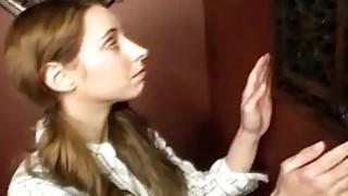 Glory Hole Blowjob Action With Nasty Brunette Babe image