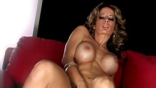 Busty Portuguese Milf cums solo on the couch image