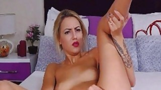 Sexy Blonde Babe Finger And Dildo Masturbation image
