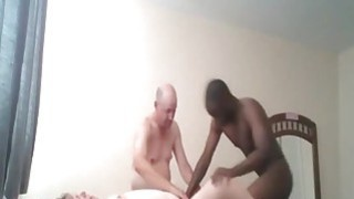 Image: Cuckold BBW gets rammed by her man and a black stud