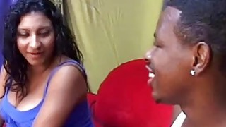 Pregnant Ebony Coco Butter Sucks Black Dick And_Gets Fucked On Red Sofa image
