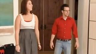 Swinger wife Sabrina sucks strapon dildo in front of husband Anthony image