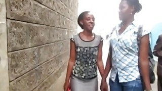 Serwa and Therma are two hot African lesbians who love having sex in_bathroom image