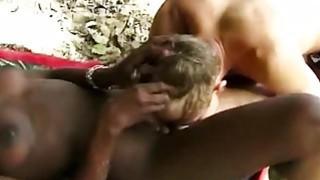 Stiff White_Dick Slides Deep Into Furry Ebony Pussy image