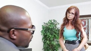 Tattooed MILF Fucked At Classroom By Two Black Guys image
