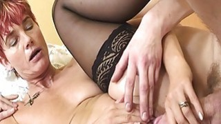 maid fucking - Lovely granny maid in sexy stockings anal fucked image
