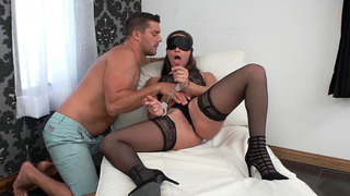 Blindfolded and cuffed Abella Danger got fingered image