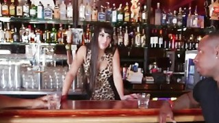 Fat ass bartender Mercedes Carrera gets tag teamed in hot_interracial threesome image