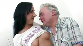 Image: Young playgirl enjoys old dick in mouth and pussy