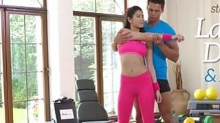 Teacher fucking Asian babe at yoga class image
