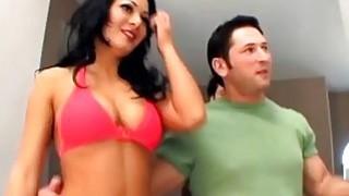 Brunette bimbo crazy hardcore anal fuck double penetration play image