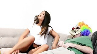 Asian girlfriend fucks masked bf on the couch image