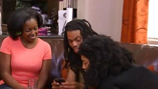 Open minded black couple going fort heir first threesome image