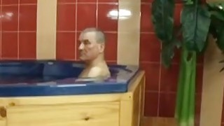 Czech wife banging her husband_friend at the Jacuzzi image