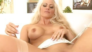 Big tits blonde whore all her fuckholes screwed by BBC image