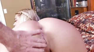 Image: Blonde slut Kenzie Green takes two old mans cock