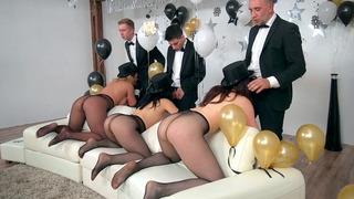 Image: Kristina Rose, Chanel Preston and Phoenix Marie deepthroat three cocks