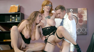 Lauren Phillips and Lena Paul commence a hot 3some with girl-girl play image