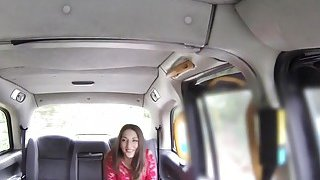 Big nose beauty in lingerie bangs in fake taxi image
