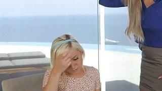 Blonde Cleo having a lesbian sex with her bfs stepmom Nina image