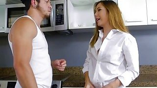 Image: Teen babe Aria gets fucked by her house mate in the kitchen