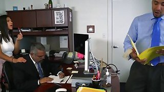 Young brunette boss daughter riding cock in office image