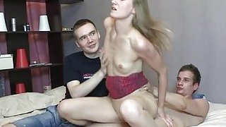 Sweetlooking teen gal takes hard dick image