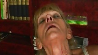 Image: A nasty blonde granny masturbates then gets young hard_penis in her vagina