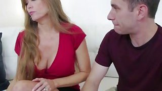 Cougar gives head to horny step son long dong image