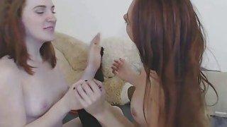 Tiny 18yo Lesbians Sharing_Big Double_Dildo image