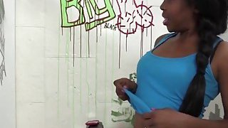 Image: Ebony babe Brie gets filled with cock in glory hole